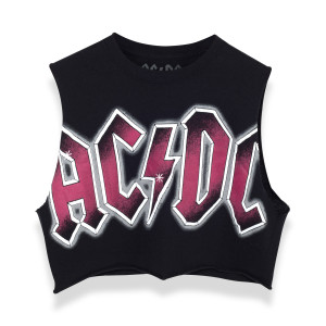 AC/DC Crop Top - Black