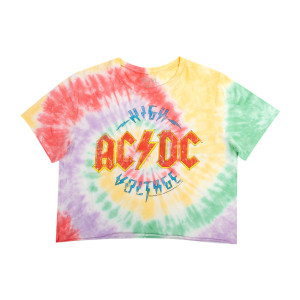 AC/DC Ladies Tie Dye High Voltage Crop Top