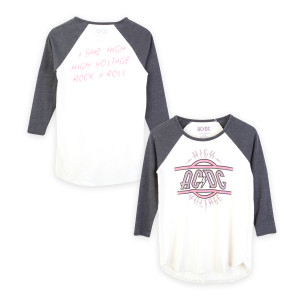 AC/DC Pink/Purple Logo High Voltage Raglan