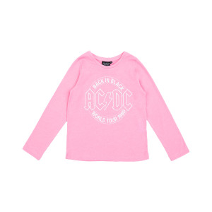 AC/DC Back in Black World Tour LS Girls Pink T-shirt