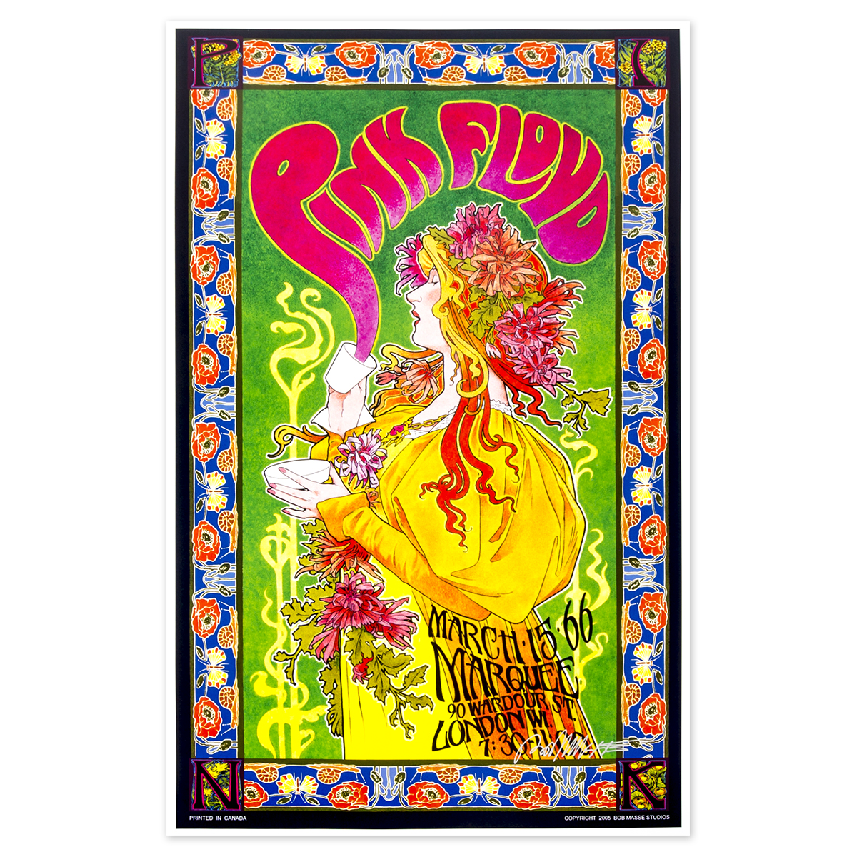Pink Floyd Tea Party Bob Masse Signed Poster
