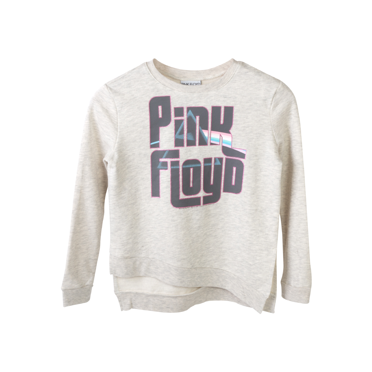 Pink Floyd Juniors Pink Lettering Dark Side Logo Grey Sweater