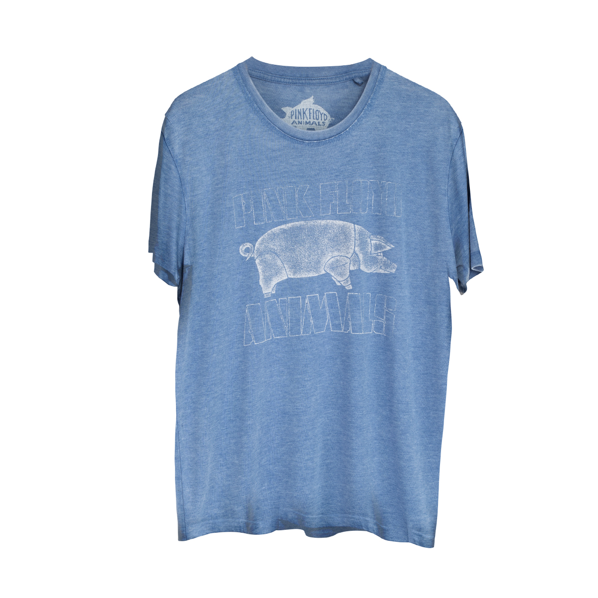 Pink Floyd Animals  Pig Logo Distressed Blue T-shirt