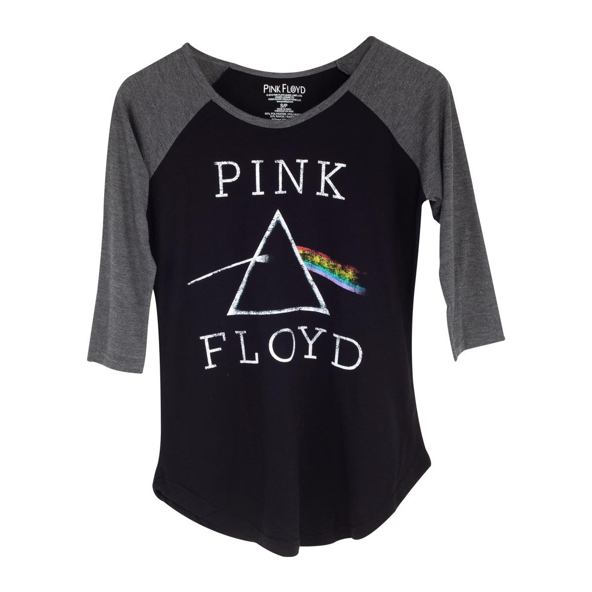 Pink Floyd The Dark Side Of The Moon Logo Black & Grey Raglan