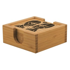 Division Bell Wood Heads Bamboo Coaster Set