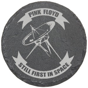 Still First In Space Laser Engraved Round Slate Coaster (set of 4)