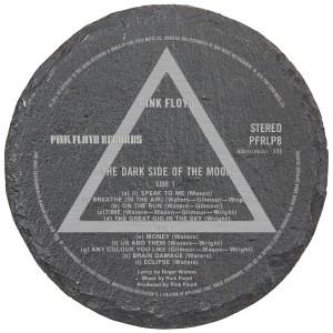Dark Side Label Laser Engraved Round Slate Coaster (set of 4)