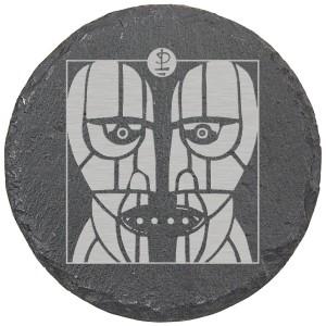 Stoneheads Laser Engraved Round Slate Coaster (set of 4)