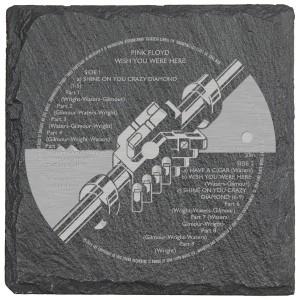 WYWH Label Laser Engraved Square Slate Coaster (set of 4)