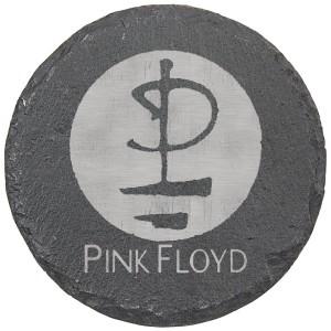 Modern Logo Laser Engraved Round Slate Coaster (set of 4)