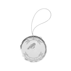 Still First In Space Round Laser-Etched Glass Ornament