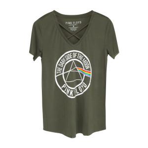 Pink Floyd Dark Side Circle Logo Green V-Cut T-Shirt