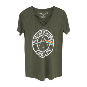 Pink Floyd Dark Side Circle Logo Green V-Cut T-Shirt