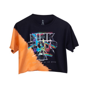 Pink Floyd Dark Side Black Tie Dye Crop Top