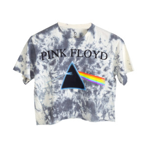 Pink Floyd 1973 Tour Dates Grey Tie Dye Crop Top