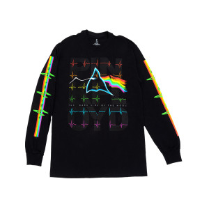 Pink Floyd The Dark Side of the Moon Rainbow Wavy Long Sleeve Black T-shirt