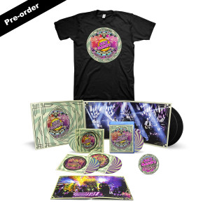 Nick Mason's Saucerful of Secrets Live At The Roundhouse Set List T-shirt + Round Logo Magnet + Choice of Media Ultimate Bundle