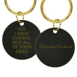 Ghosts Laser Engraved Script Logo Brass Keychain