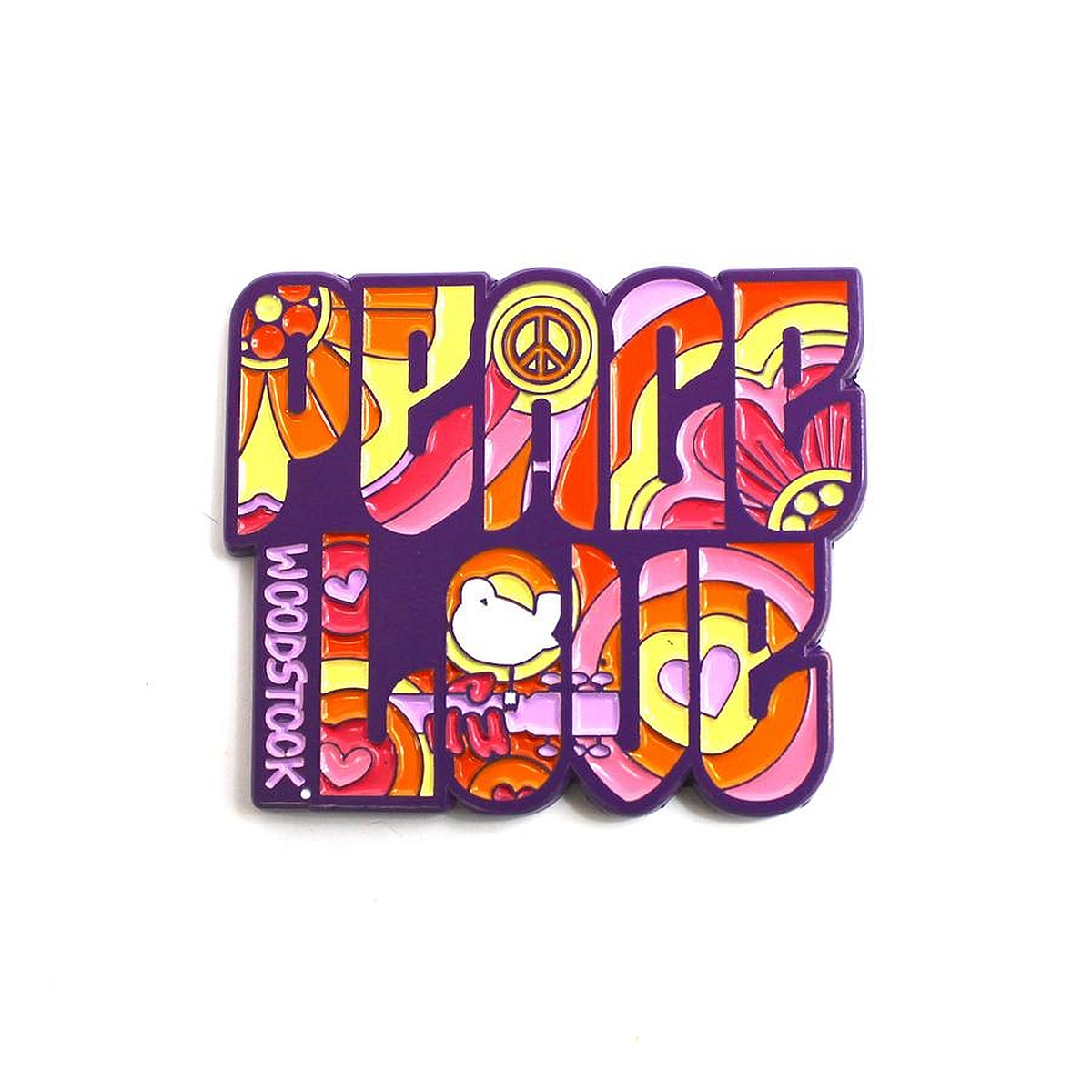 The Woodstock x Sloth Steady Peace & Love Pin