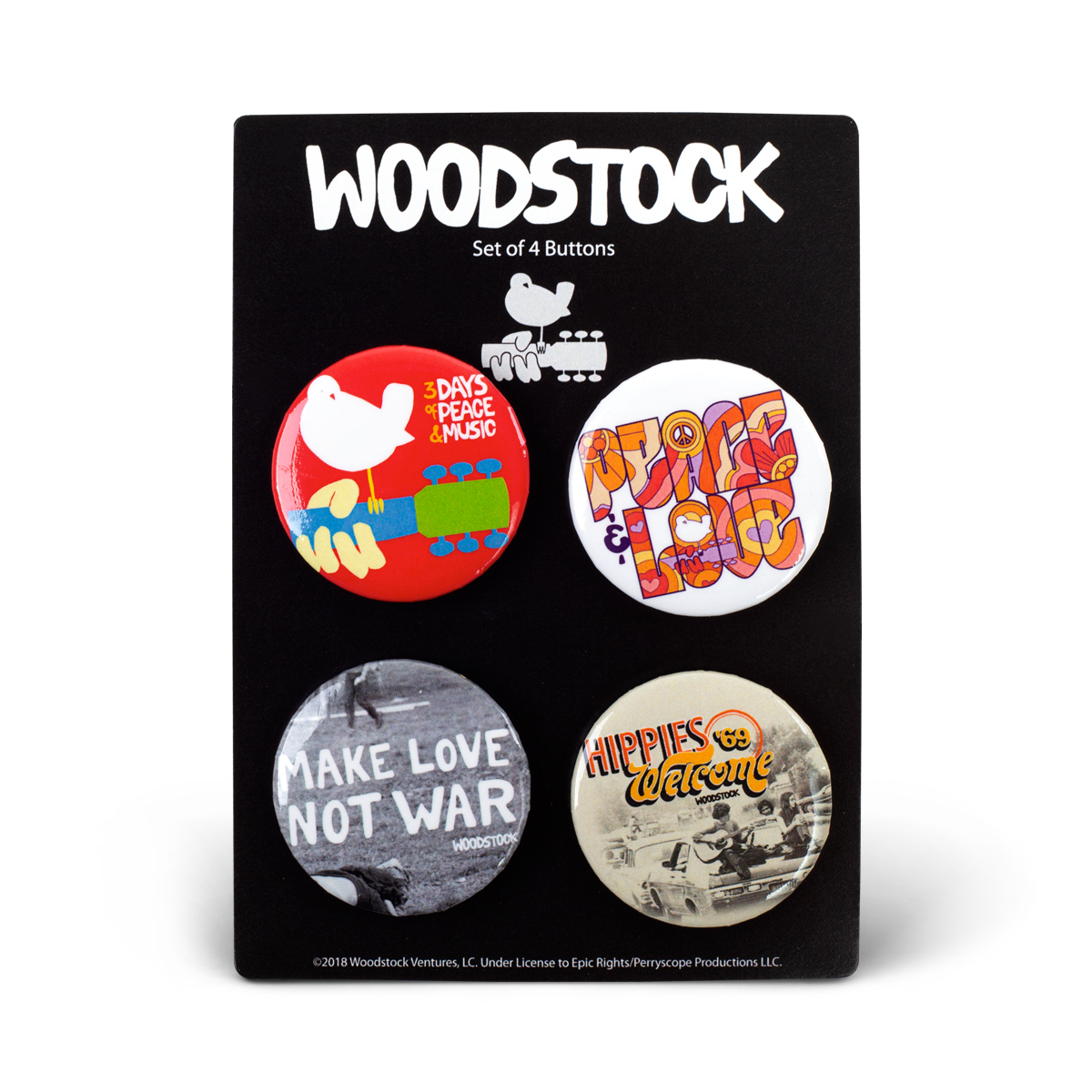 Woodstock Buttons -  Four Pack