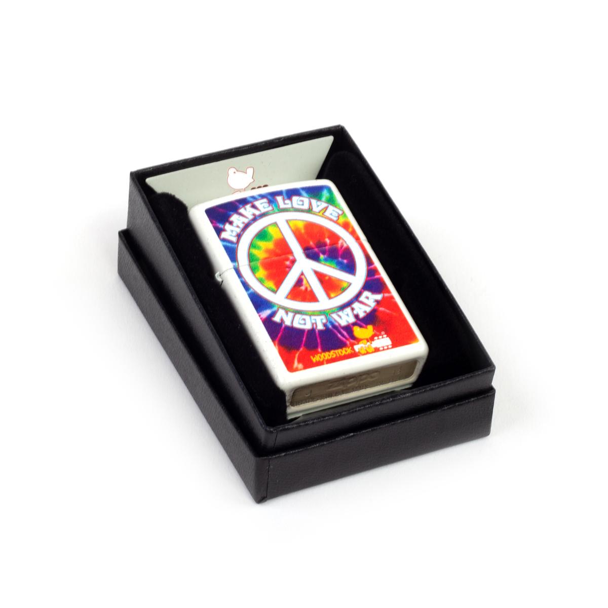 Woodstock Make Love Not War Tie Dye Zippo