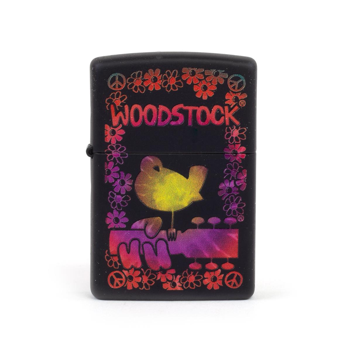 Woodstock Floral Border Black Zippo