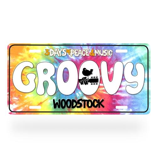 Groovy Woodstock License Plate