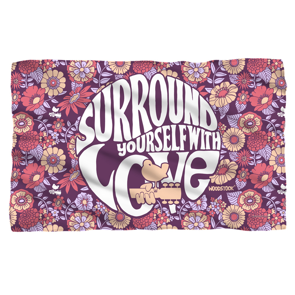 Woodstock Flower Surround Fleece Blanket