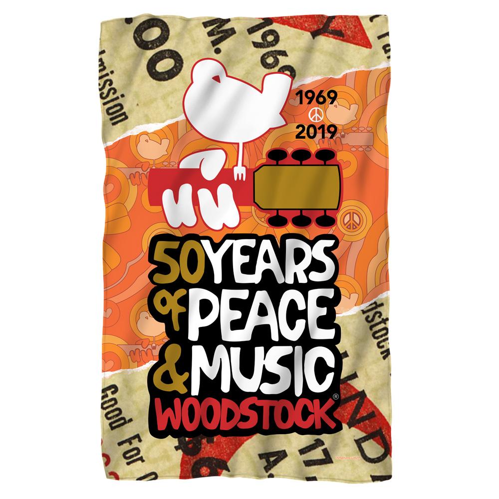 Woodstock 50 Year Ticket Fleece Blanket