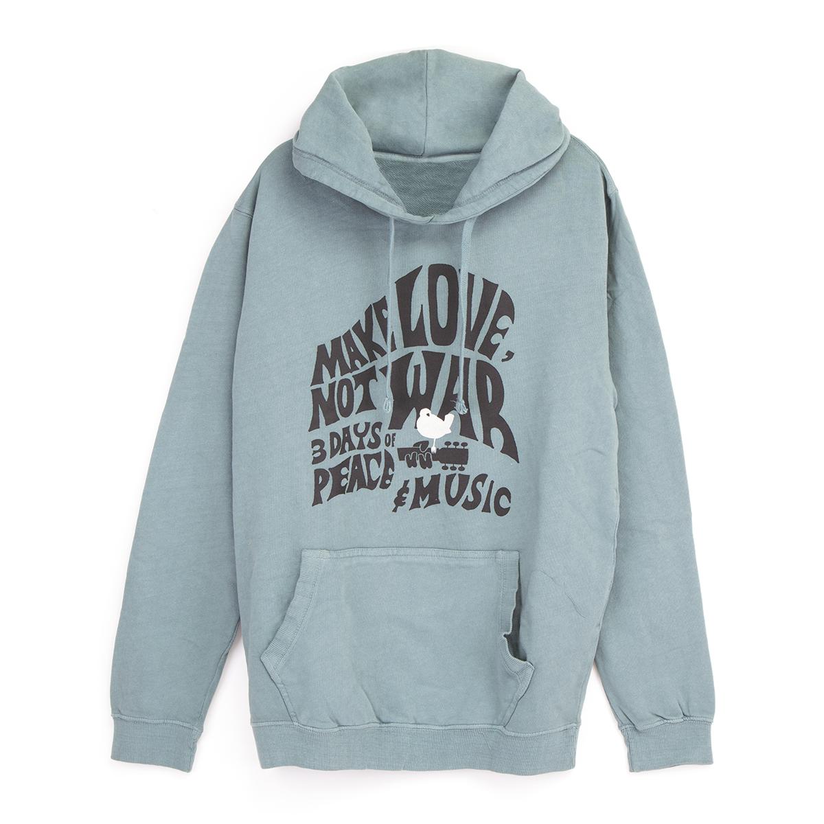 Woodstock Make Love Not War Grey/Blue Pullover Hoodie