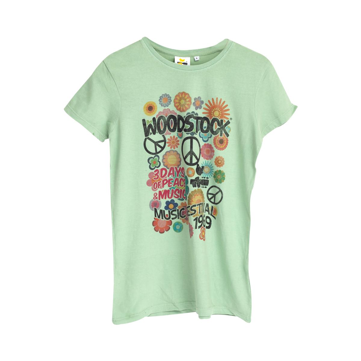 Woodstock Flowers & Peace Green T-Shirt