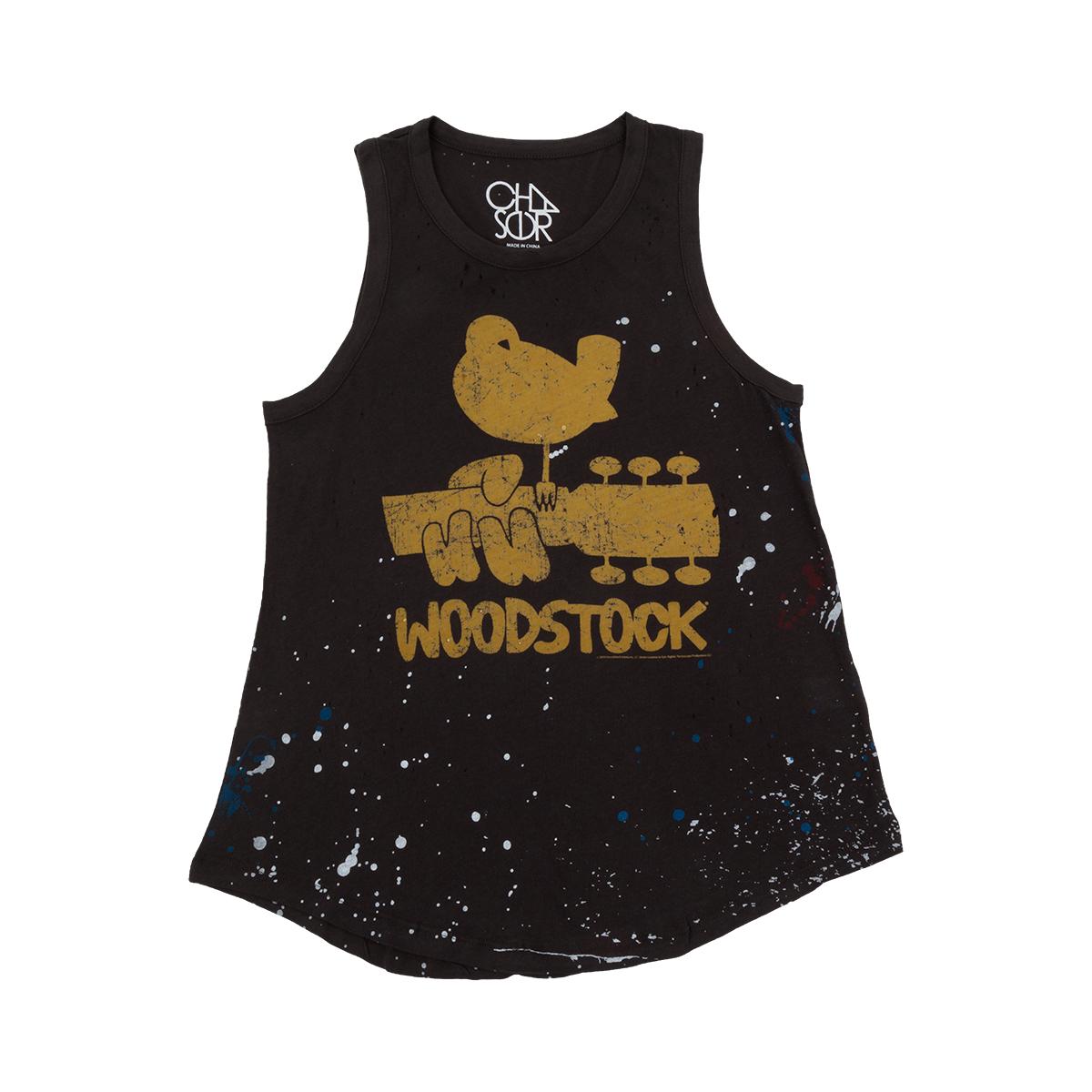 Woodstock Splattered Paint Logo Distressed Tank Top