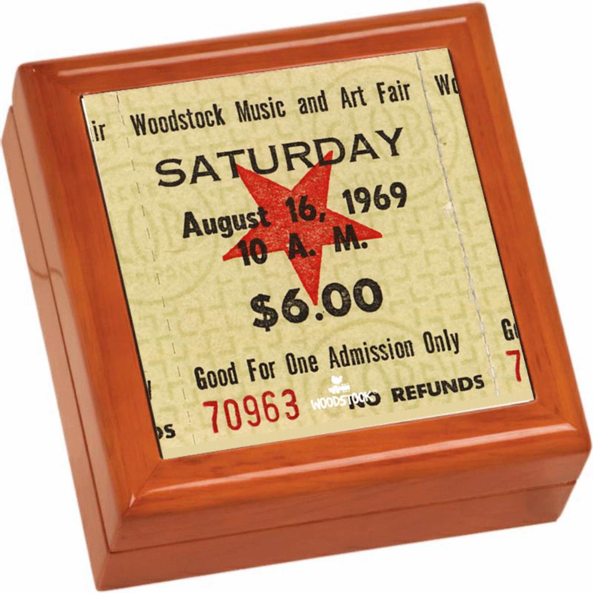Woodstock Ticket Stub Wooden Keepsake Box