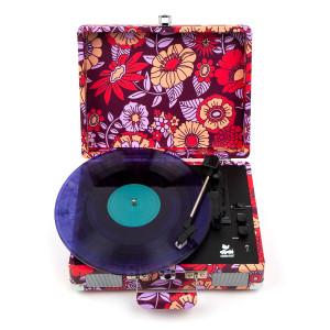 Woodstock Dark Flora Portable Suitcase Turntable