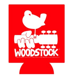Woodstock Logo Can Koozie (White Logo)