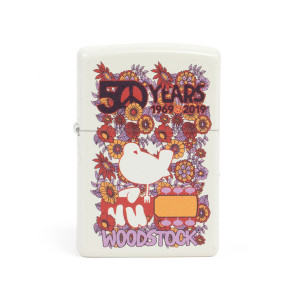 Woodstock Floral Collage White Zippo