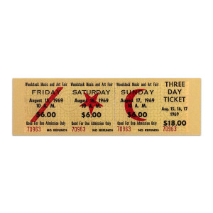 Woodstock Ticket Magnet