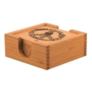 420 Laser Etched Bamboo Coaster Set