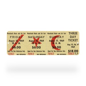 Woodstock Concert Ticket Sign