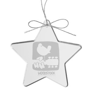 Rectangular Logo Star Laser-Etched Glass Ornament