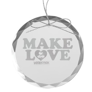 Make Love Round Laser-Etched Glass Ornament