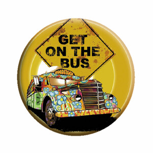 """Woodstock Get on the Bus 1.25"""" Button"""