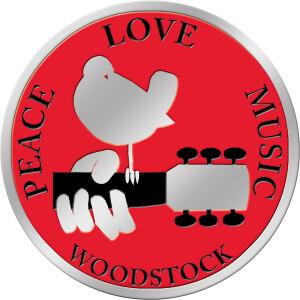 """Woodstock 1.125"""" Round Metal Sticker"""