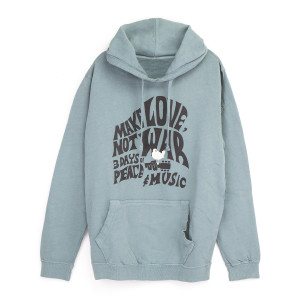 Woodstock Make Love Not War Grey/Blue Pullover Hoodie