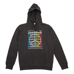 Woodstock Repeating Logo & Peace Sign Charcoal Hoodie