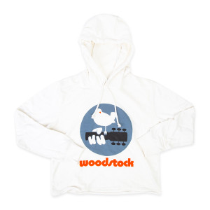 Woodstock Bird Guitar Logo White Cropped Hoodie