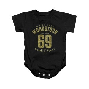 Woodstock White Lake Logo Black Infant Snapsuit