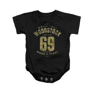Woodstock White Lake Logo Black Infant Snapsuit