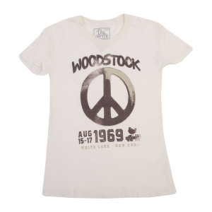 Woodstock Peace Aug 1969 Ladies White T-shirt