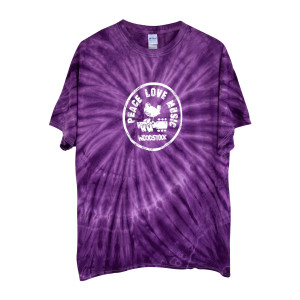 Peace Love Music Circle Logo Tie Dye Purple T-shirt